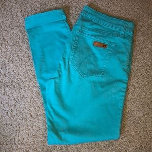 Stretch teal colored jeans